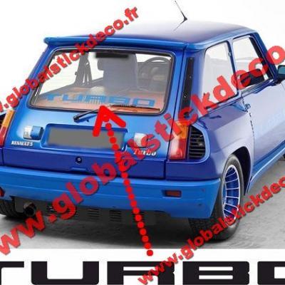 0003136 renault 5 gordini turbo 2 rear screen turbo decal sticker 550