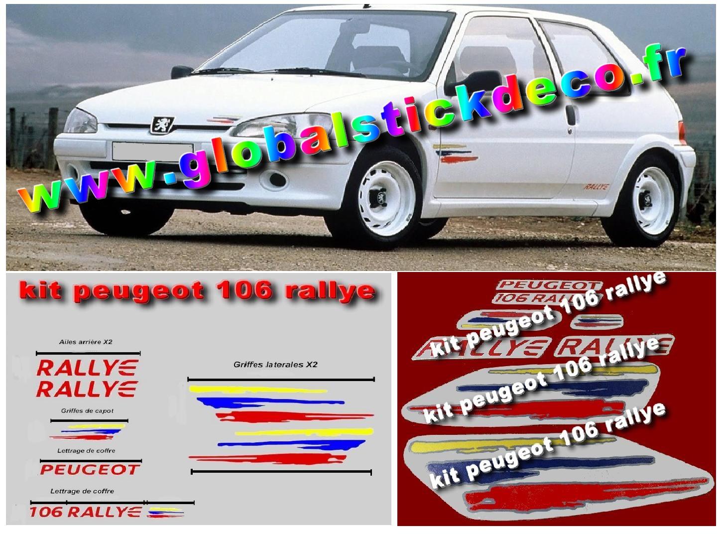 Autocollant adhesif vinyle pour peugeot 106 rallye phase 2