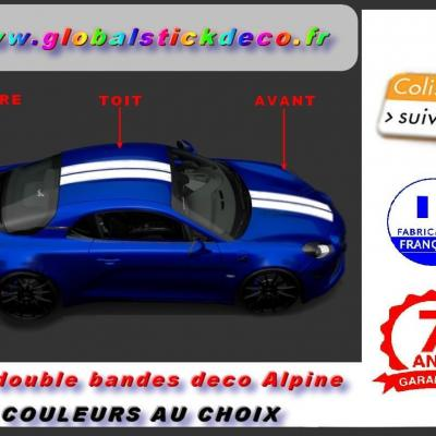 Kit sticker double bandes 30 cm de large pour alpine a110