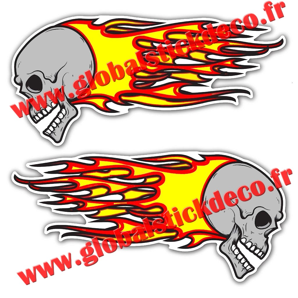 Skull flames large laminated stickers 200x95mm 1918 1 p