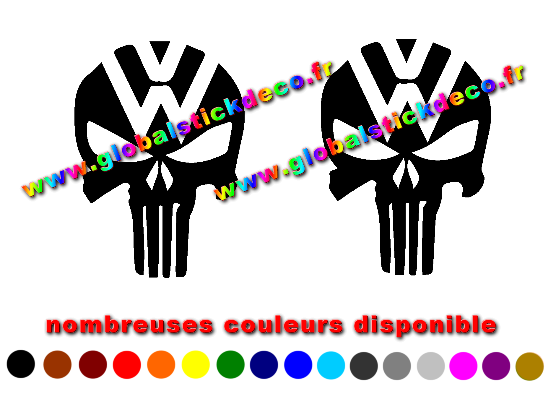 Sticker auto moto marques vw skull1 2