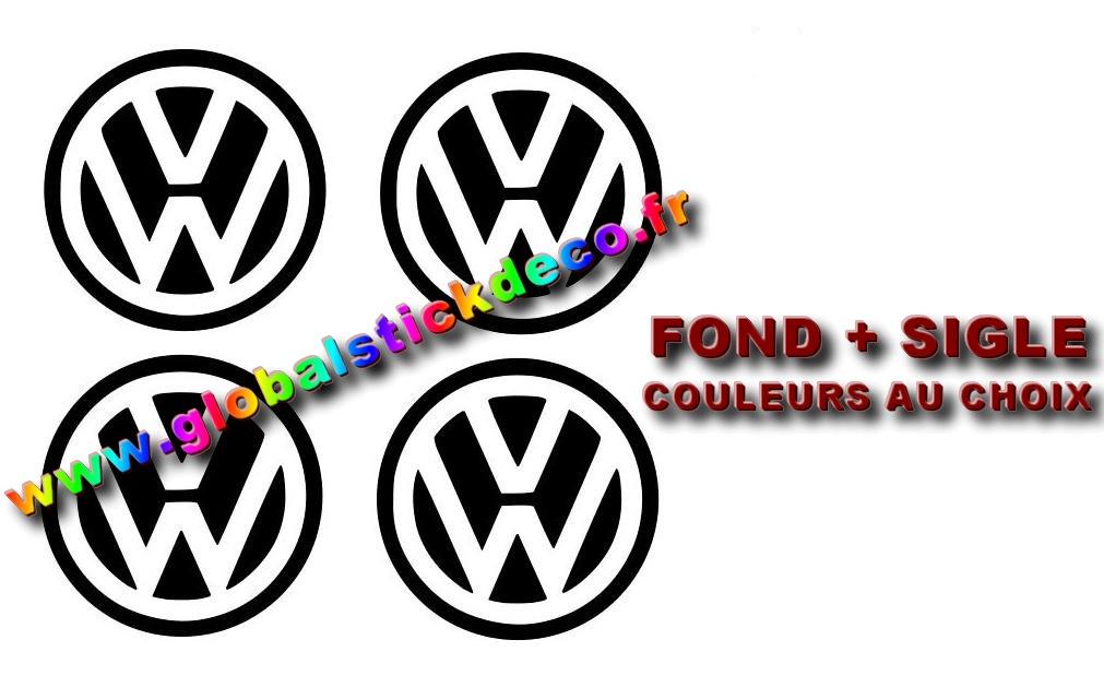 Stickers 4x centre de roue vw 60mm
